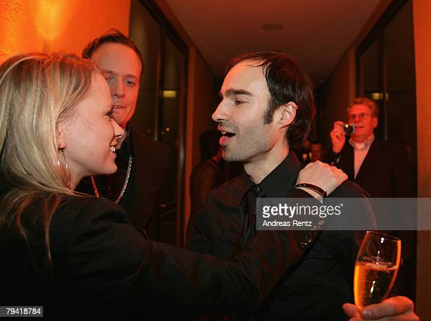 Fashion designer Ivan Strano and Nova Meierhenrich attend the after show party to the Unrath Strano fashion show during the MercedesBenz Fashionweek...