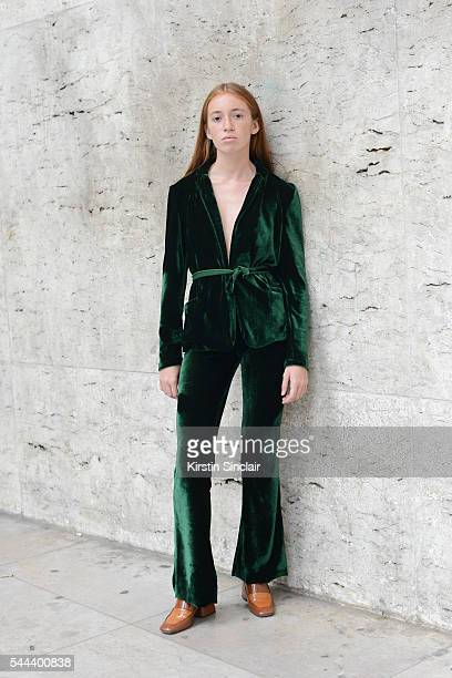 Fashion designer Jane Morineau wears her own design jacket and trousers and Zara shoes on day 3 of Paris Collections Men on June 24 2016 in Paris...