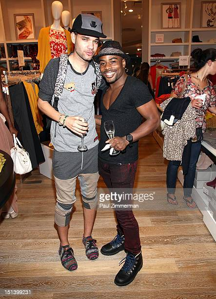 Fashion designer Jason Christopher Peters and Anthony Decarlis attend Fashion's Night Out at the LOFT store 1230 Avenue of the Americas at 49th...