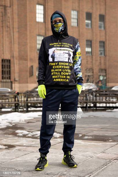 Fashion designer Jason Christopher Peters poses during New York Fashion Week on February 14, 2021 in New York City.