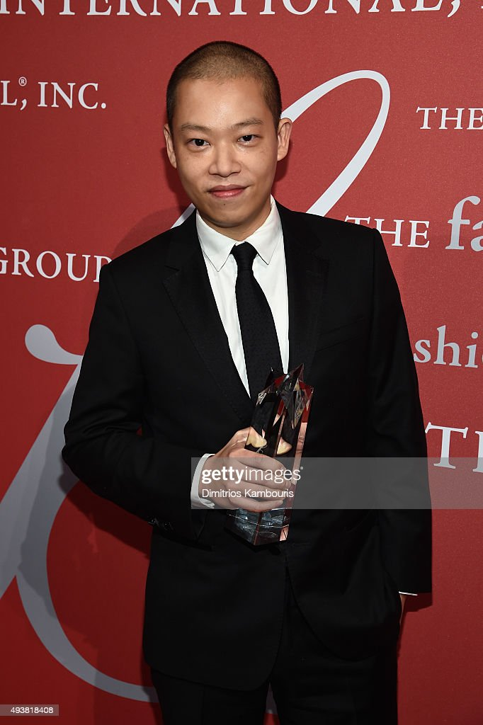 Fashion Designer Jason Wu poses with his award at the 2015 Fashion Group International Night Of Stars Gala at Cipriani Wall Street on October 22, 2015 in New York City.
