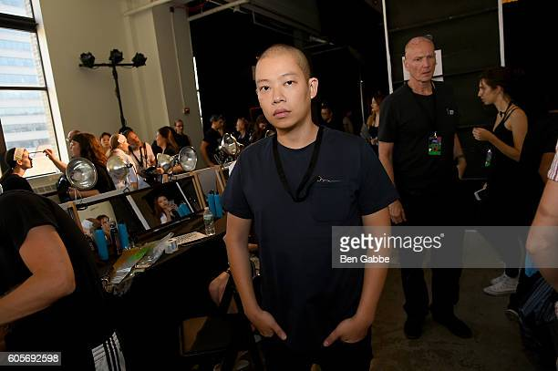 Fashion designer Jason Wu prepares backstage for the Boss Womenswear fashion show during New York Fashion Week September 2016 at The Gallery Skylight...