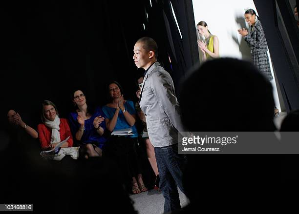 Fashion designer Jason Wu takes a bow at the Jason Wu Fall 2009 during Mercedes-Benz Fashion Week at Exit Art, 475 Tenth Avenue, on February 13, 2009...