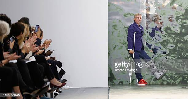 Fashion designer Jasper Conran on the runway after his show during London Fashion Week Spring/Summer 2016 on September 19 2015 in London England