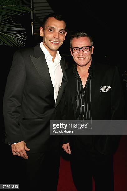 Fashion designer Jayson Brunsdon attends with his friend AAron Elias designer Alex Perry's 'A Very Perry Christmas' Party at the Sofitel Wentworth...