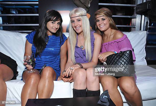 Fashion designer Jazmin Whitley singer Monet Monico and friendpose at the Champion Gaming Series KickOff Party held at the Santa Monica Airport on...