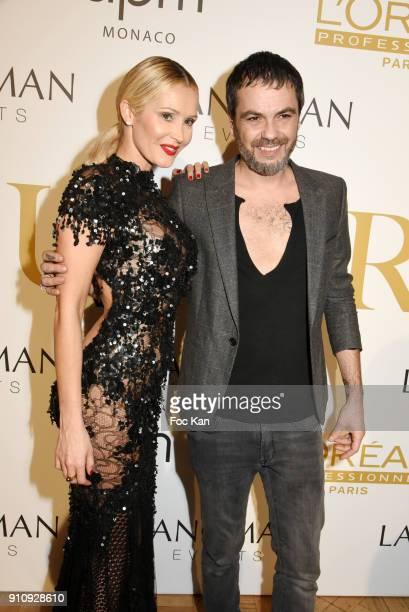 Fashion designer Jean Paul Benielli and Tatiana Laurens Delarue attend 'The Couture Ball' Le Jean Paul Benielli Show Party at Le Mona Bismarck on...
