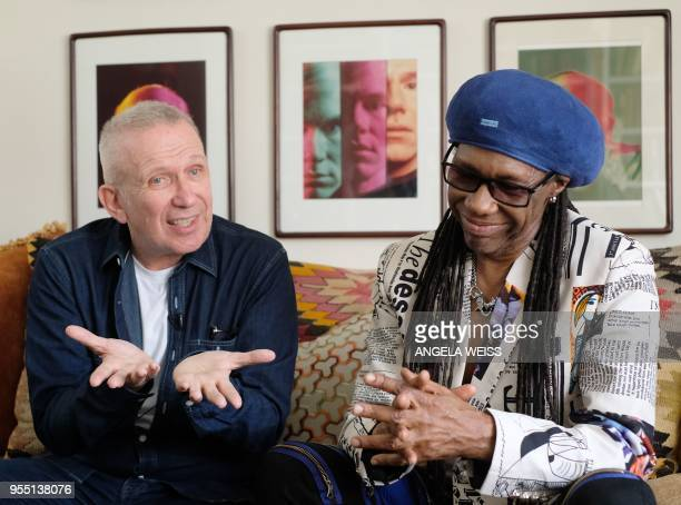 Fashion Designer Jean Paul Gaultier and Record Producer Nile Rodgers are interviewed by AFP on May 3 2018 in Westport Connecticut Deciding how to...