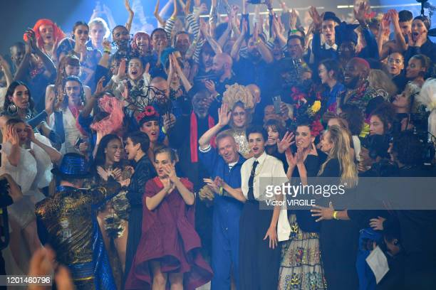 Fashion designer Jean Paul Gaultier singer Boy George and models during the JeanPaul Gaultier Haute Couture Spring/Summer 2020 fashion show as part...