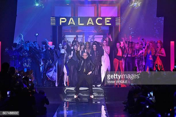 Fashion designer Jean Paul Gaultier walks the runway during the Jean Paul Gaultier Spring Summer 2016 show as part of Paris Fashion Week on January...