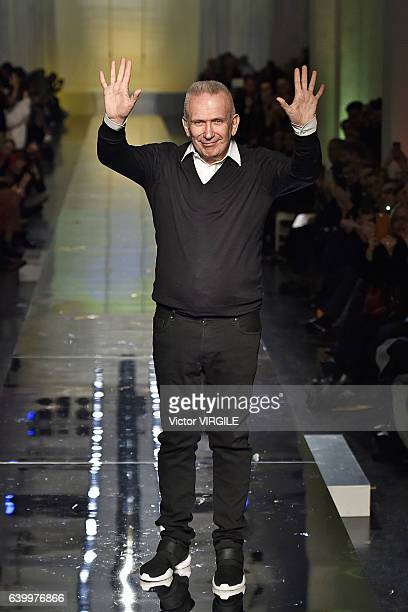 Fashion designer Jean Paul Gaultier walks the runway during the Jean Paul Gaultier Spring Summer 2017 show as part of Paris Fashion Week on January...