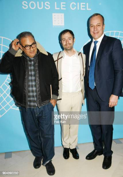 APC fashion designer Jean Touitou Leandro Erlich and Le Bon Marche CEO Patrice Wagner attend 'Sous le Ciel Carte Blanche A Leandro Erlich'...