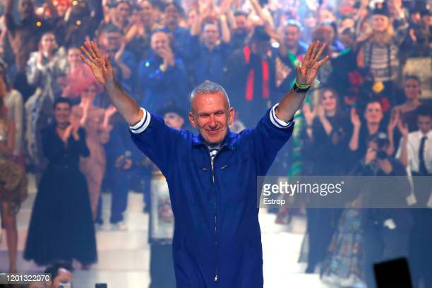 Fashion designer Jean-Paul Gaultier acclaimed by the audience during the Jean-Paul Gaultier Haute Couture Spring/Summer 2020 show as part of Paris...