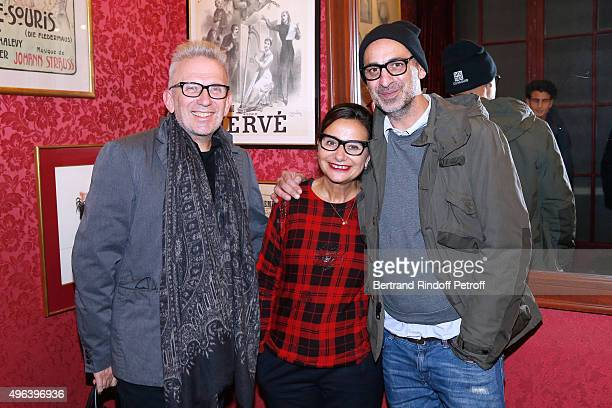 Fashion Designer JeanPaul Gaultier Journalist Marie Colmant and Tanel Bedrossiantz attend the Theater Play 'Ne me regardez pas comme ca ' performed...