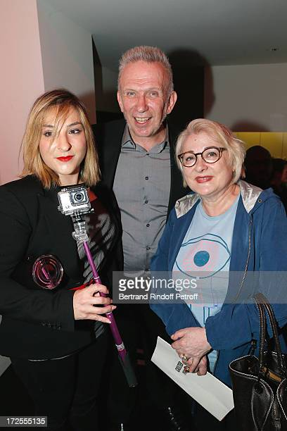 Fashion designer JeanPaul Gaultier poses with actresses Josiane Balasko and her daughter Marilou Berry backstage after the Jean Paul Gaultier show as...