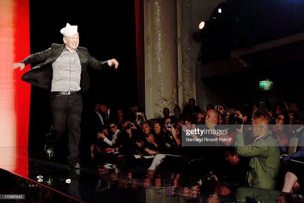 Fashion designer Jean-Paul Gaultier walks on the runway at the end of the Jean Paul Gaultier show as part of Paris Fashion Week Haute-Couture Fall/Winter 2013-2014 at 325 Rue Saint Martin on July 3, 2013 in Paris, France.