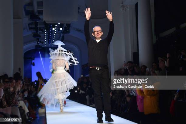 Fashion Designer JeanPaul Gaultier walks the runway during the Jean Paul Gaultier Spring Summer 2019 show as part of Paris Fashion Week on January 23...