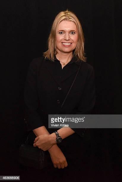 Fashion designer Jenny Packham backstage at the Jenny Packham show during MercedesBenz Fashion Week Fall 2015 at Industria Studios on February 17...