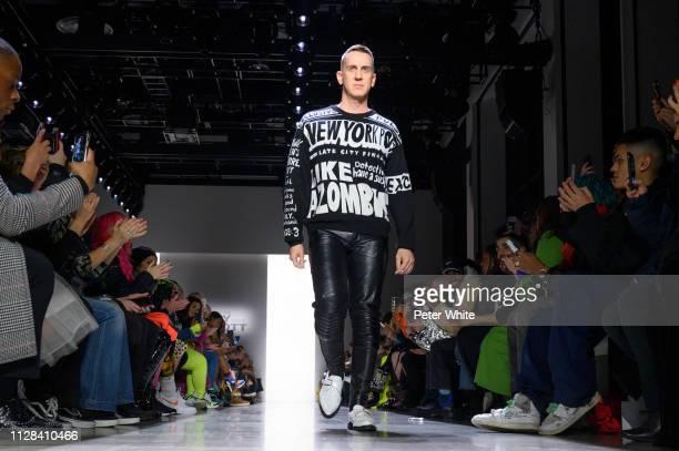 Fashion designer Jeremy Scott acknowledges the audience during the Jeremy Scott fashion show as part of New York Fashion Week on February 08 2019 in...