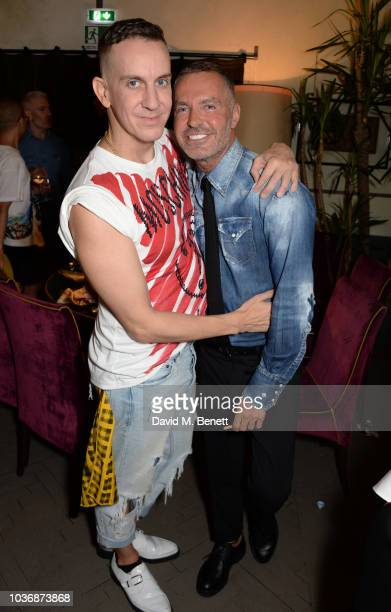 Fashion designer Jeremy Scott and Dan Caten attend the CIROC x Moschino SS19 Show after party during Milan Fashion Week on September 20 2018 in Milan...