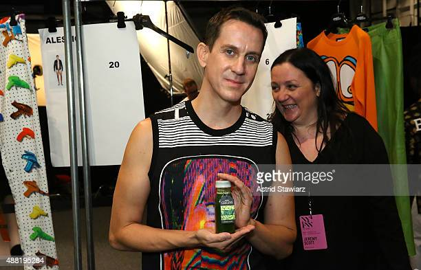 Fashion Designer Jeremy Scott and Fashion Publicist Kelly Cutrone prepare backstage with Kagome Greens At Jeremy Scott at Skylight at Moynihan...