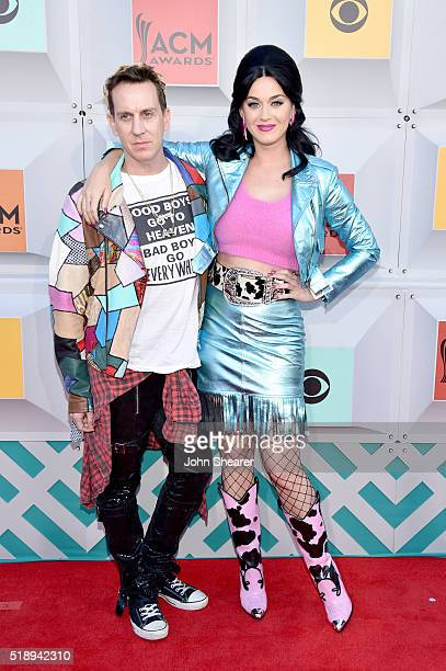 Fashion designer Jeremy Scott and recording artist Katy Perry attend the 51st Academy of Country Music Awards at MGM Grand Garden Arena on April 3...