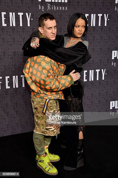 Fashion designer Jeremy Scott and Rihanna attend the FENTY PUMA by Rihanna AW16 Collection during Fall 2016 New York Fashion Week at 23 Wall Street...