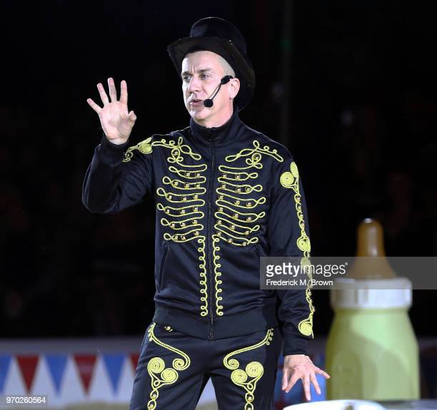 Fashion Designer Jeremy Scott attends Moschino Spring/Summer 19 Menswear and Women's Resort Collection at the Los Angeles Equestrian Center on June 8...