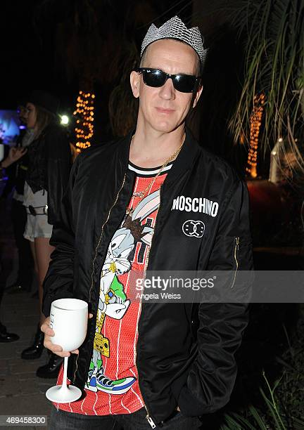 Fashion designer Jeremy Scott enjoying Moet Ice Imperial at Moschino's Late Night hosted by Jeremy Scott at Coachella 2015 on April 11 2015 in...