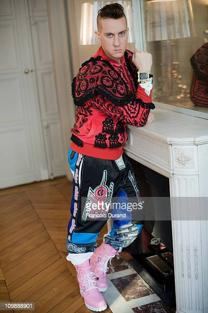 Fashion designer Jeremy Scott poses at the adidas ObyO Jeremy Scott FW12 Originals store on March 5 2011 in Paris France