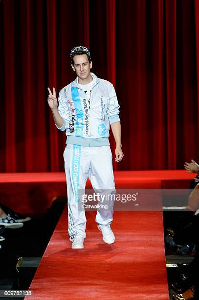 Fashion designer Jeremy Scott walks the runway at the Moschino Spring Summer 2017 fashion show during Milan Fashion Week on September 22 2016 in...