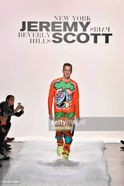 Fashion designer Jeremy Scott walks the runway for the Jeremy Scott fashion show during New York Fashion Week Fall Winter 20172018 on February 10...