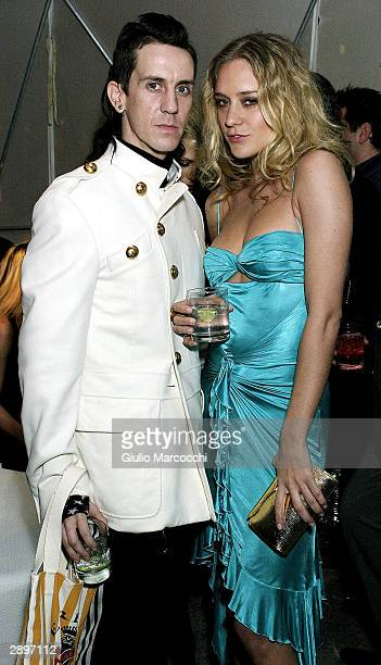 Fashion designer Jeremy Thomas and actress Chloe Sevigny attend The W's Golden Globe Party on January 23 2004 in Los Angeles California
