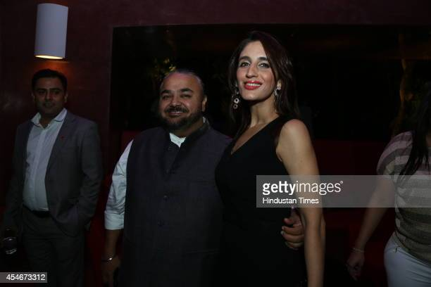 Fashion designer JJ Valaya and gemologist Farah Khan Ali during a champagne brunch to celebrate the preview fashion show of Runway Bridal at Brys...