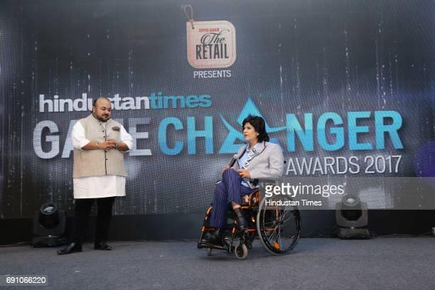 Fashion Designer JJ Valaya with Paraathlete Deepa Malik during the Hindustan Times Game Changer Awards 2017 at Hotel Oberoi on May 24 2017 in Gurgaon...
