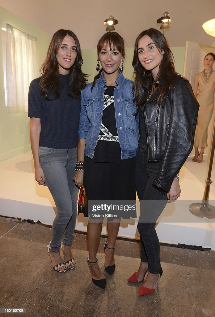 Fashion designer Jodie Snyder, actress Rashida Jones and fashion designer Danielle Snyder attend the Dannijo presentation during Mercedes-Benz Fashion Week Spring 2014 at Industria Studios on September 9, 2013 in New York City.