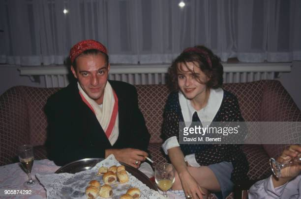 Fashion designer John Galliano and actress Helena Bonham Carter at the Elle Magazine's 'British Beauties' Party, UK, September 1988.