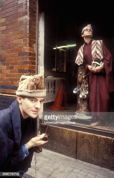 Fashion designer John Galliano with model Jon Evans photographed in the week he graduated from Central Saint Martin's in London 1986