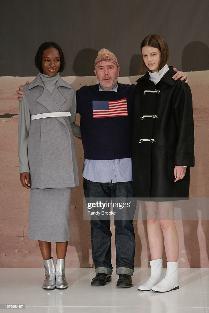 Fashion designer John Patrick poses with models at the runway at Organic By John Patrick during Mercedes-Benz Fashion Week Fall 2014 at 245 West 29th Street on February 5, 2014 in New York City.