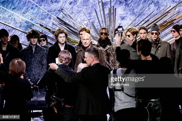Fashion designer John Varvatos with models on the runway for John Varvatos FW17 runway show during NY Fashion Week Men's at Paramaunt Hotel Manhattan
