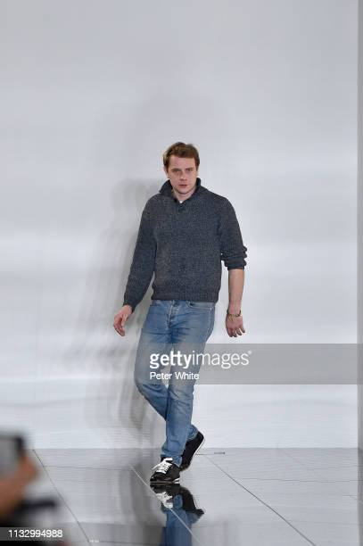 Fashion designer Jonathan Anderson aka JW Anderson walks the runway at the end of Loewe show as part of the Paris Fashion Week Womenswear Fall/Winter...