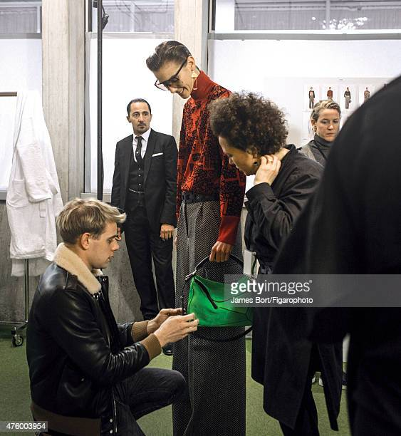 Fashion designer Jonathan Anderson is photographed for Madame Figaro backstage at Loewe's Autumn/Winter 2015- 2016 prêt-à-porter show on March 6,...