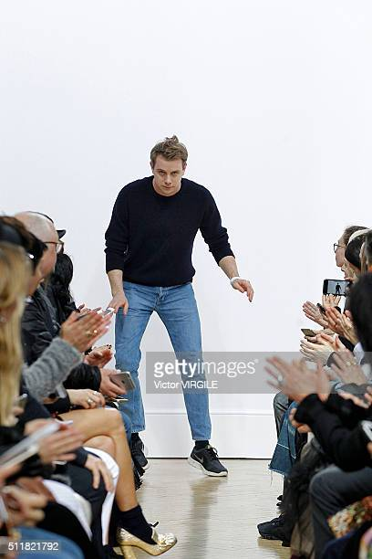 Fashion designer Jonathan Anderson walks the runway at the JW Anderson show during London Fashion Week Autumn/Winter 2016/2017 on February 20 2016 in...