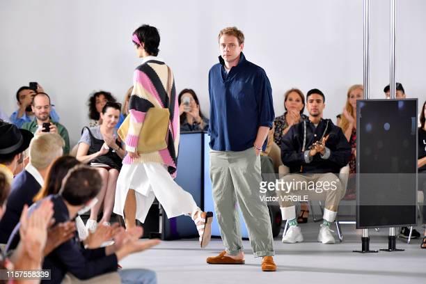 Fashion designer Jonathan Anderson walks the runway at the Loewe fashion show during Paris Men's Fashion Week Spring/Summer 2020 on June 22 2019 in...