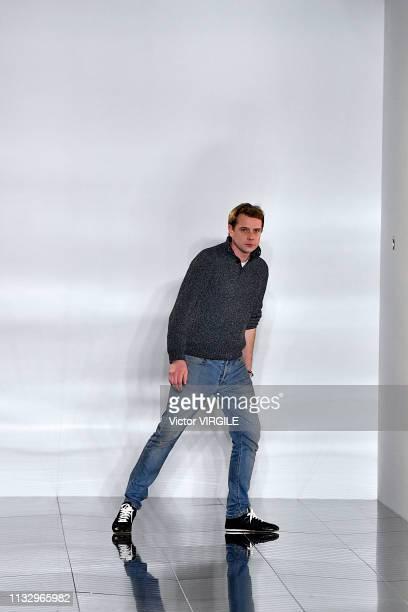 Fashion designer Jonathan Anderson walks the runway during the Loewe Ready to Wear fashion show as part of the Paris Fashion Week Womenswear...