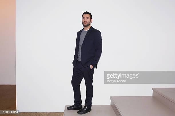 Fashion designer Jonathan Simkhai poses backstage during Fall 2016 MADE Fashion Week at Milk Studios on February 14 2016 in New York City