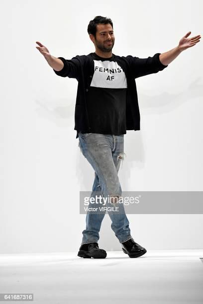 Fashion designer Jonathan Simkhai walks the runway at the Jonathan Simkhai fashion show during New York Fashion Week Fall Winter 20172018 on February...