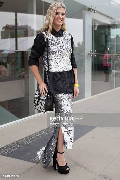 Fashion Designer Jonte Pike wearing all her own design South African bag and Betts shoes poses during the 2016 Melbourne Fashion Festival on March 9...