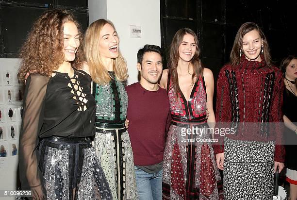 Fashion designer Joseph Altuzarra and model appear backstage at the Altuzarra Fall 2016 fashion show during New York Fashion Week at Spring Studios...