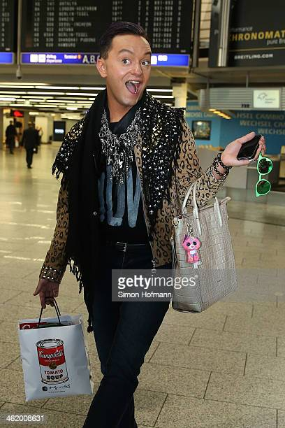 Fashion designer Julian F M Stoeckel poses before the flight to Australia as a participant in the 2014 RTLTVShow 'Dschungelcamp Ich bin ein Star Holt...